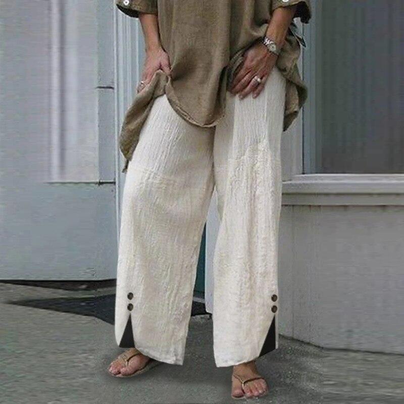 Elegant Wide Leg Trousers VONDA 2021 Cotton Linen Pants Fashion Women High Waist Buttons Long Pants Casual Solid Pantalon S-5XL