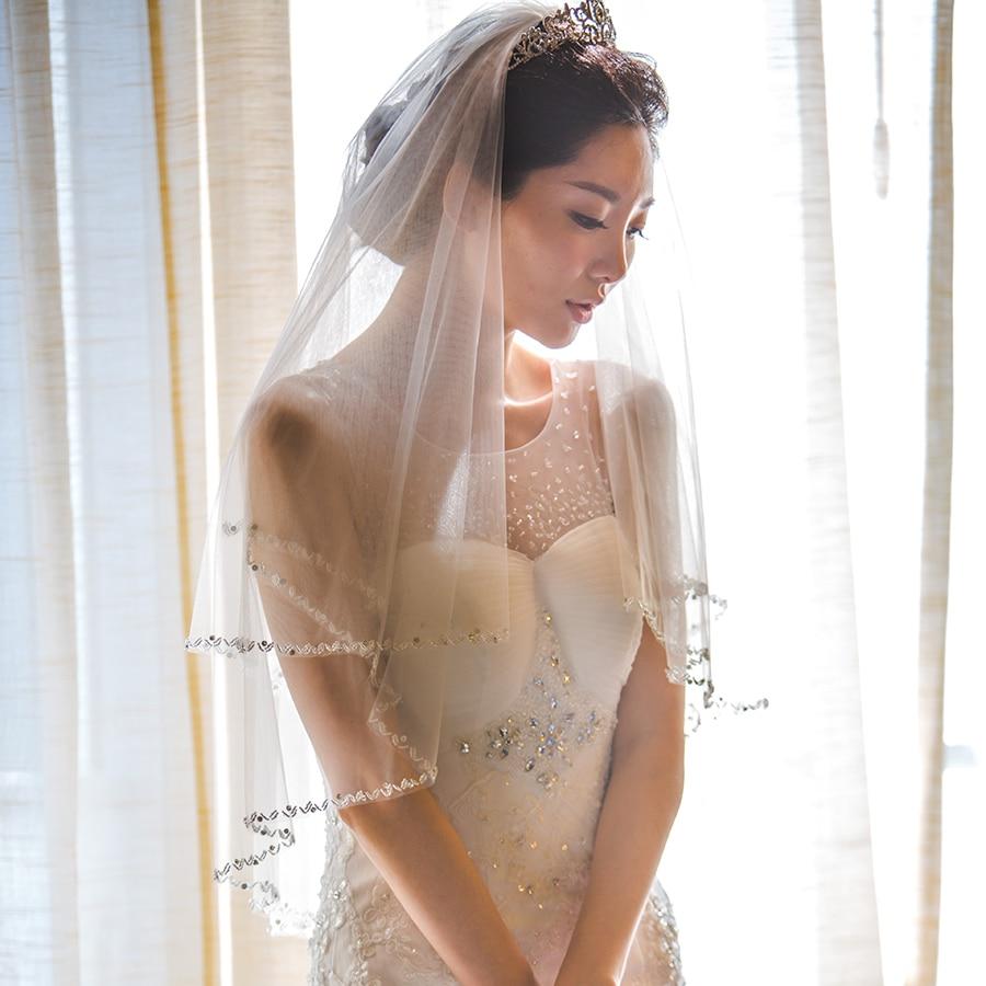Ivory &white New Elegant Bridal Veil Hard Tulle Veu De Noiva With Bead Edge Short Veils Wedding Dress Accessories With Comb