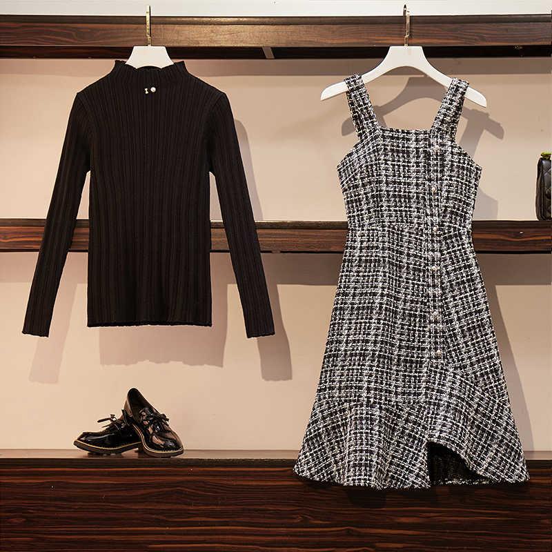 באיכות גבוהה שתי חתיכה להגדיר סתיו נשים ורוד סרוג סוודרי חולצות + הלטר משובץ טוויד פנינים כפתור קפלי שמלת חצאית סט
