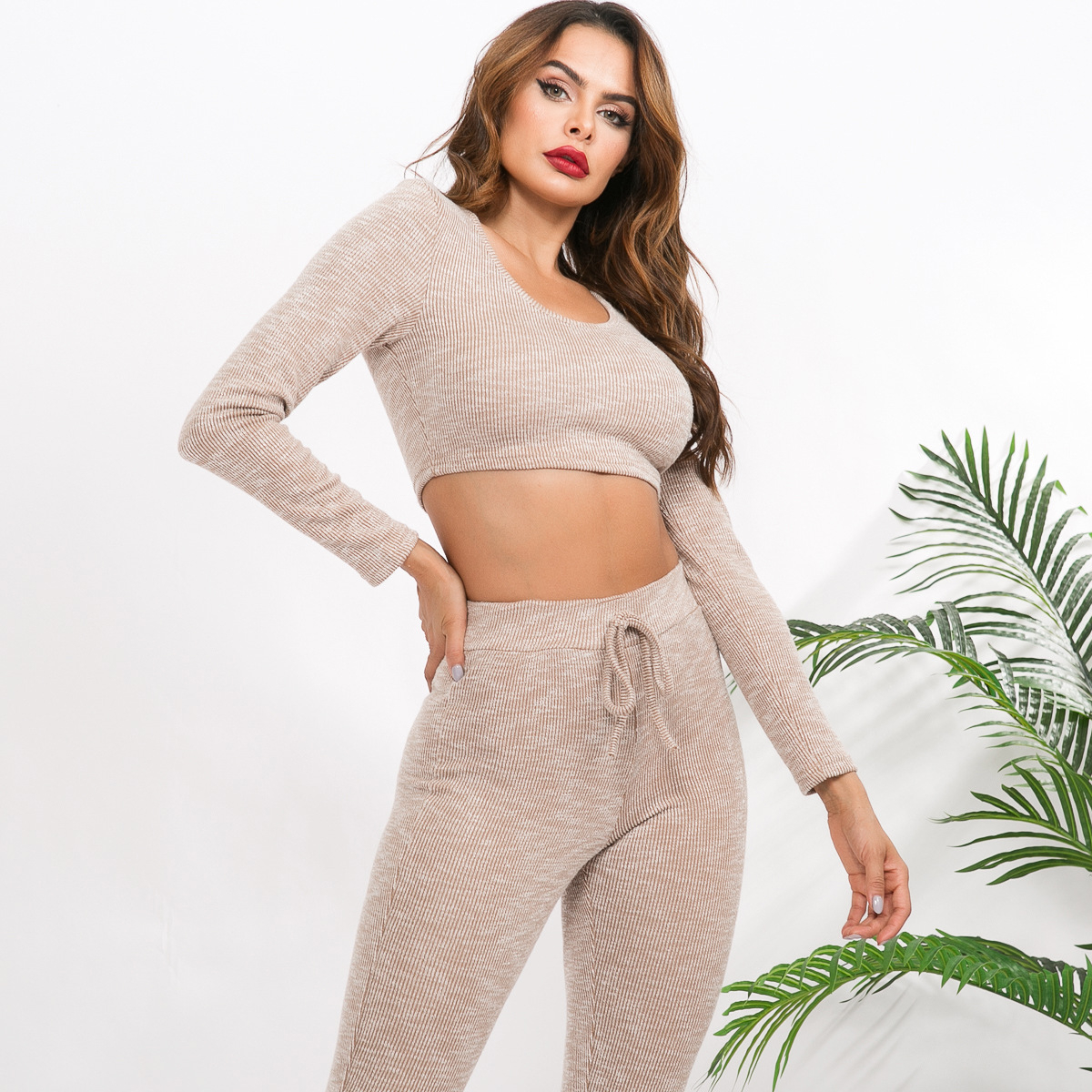 Gray Two Piece Set Women Club Outfits Ribbed Knitted Suit Long Sleeve Crop Top And Skinny Pants Female Tracksuits for Women Set