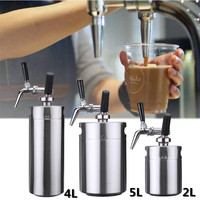 2/4/5/10L Nitro Cold Brew Coffee Maker Mini Stainless Steel Keg Home Brew Coffee Cup System Kit Stovetop Coffee Maker Pot