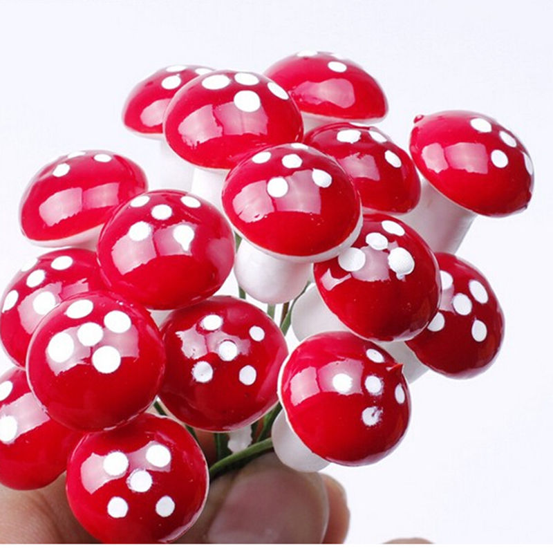 10Pcs Red Mini Mushroom For Miniature Garden Ornament Miniature Pots DIY