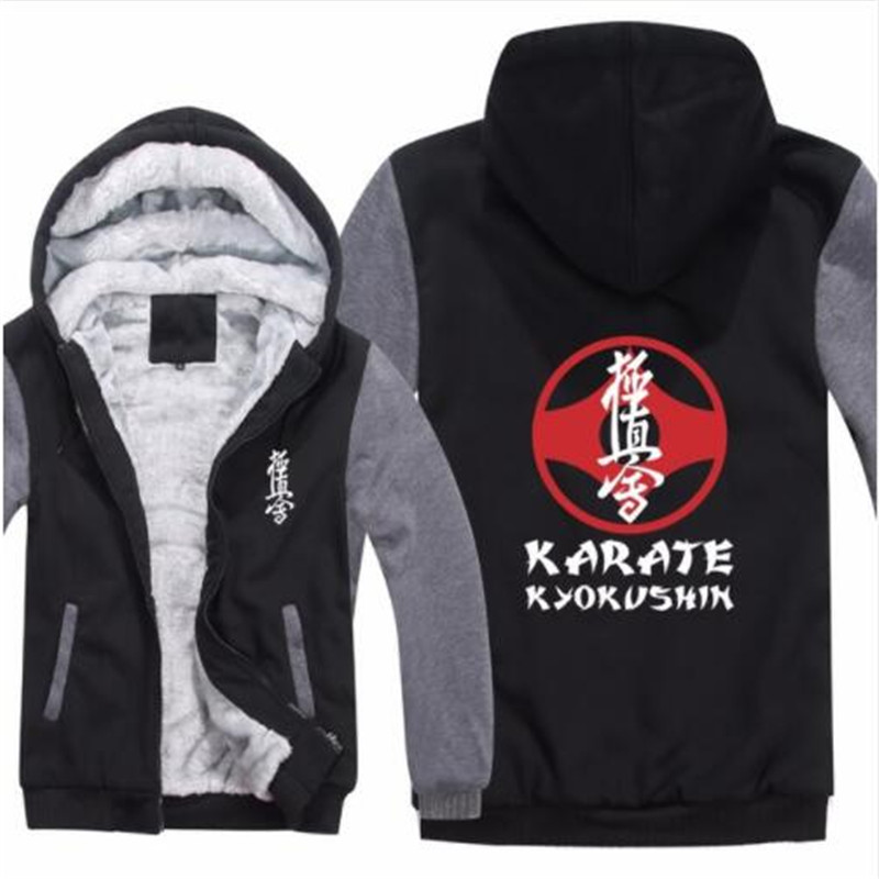 Kyokushin Karate Hoodies Pullover Winter Men Coat Casual Thick Fleece Wool Liner Kyokushin Karate Sweatshirts Hoody