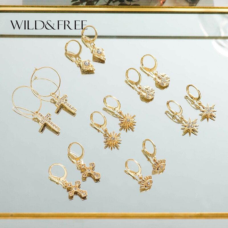 Wild&Free Star Hoop Earrings for Women Gold Coin Cross Small Eyes Tiny Huggie Hoops Earrings With Rhinestones Minimalist Jewelry