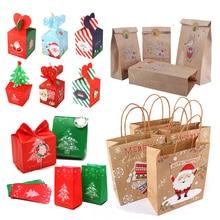 Gift-Bags Merry-Christmas Xmas-Tree Navidad Plastic Noel Candy-Box Snowflake Kids New-Year