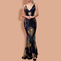 elegant black v neck prom evening party dress spaghetti straps mermaid sequins sleeveless backless trumpet gown long dresses