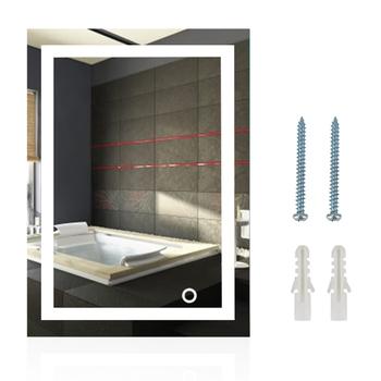 Led do montażu na ścianie lustro łazienkowe lustro do makijażu wanna Vanity lusterka kosmetyczne do łazienki Home Improvement lustra łazienkowe HWC tanie i dobre opinie Top quality glass NONE CN (pochodzenie) Podświetlany Rectangle Nowoczesne 0 5x0 7m 0 6x0 8m LED Mirror with Touch Button