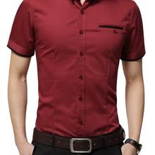 Tuxedo Shirt Short-Sleeves Men's Big-Size 5XL Summer Brand Turn-Down-Collar New-Arrival