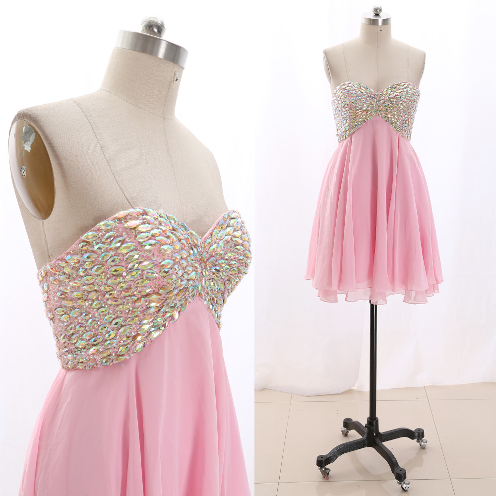 MACloth Pink Short Strapless Knee-Length Short Crystal Chiffon   Prom     Dresses     Dress   L 267491 Clearance