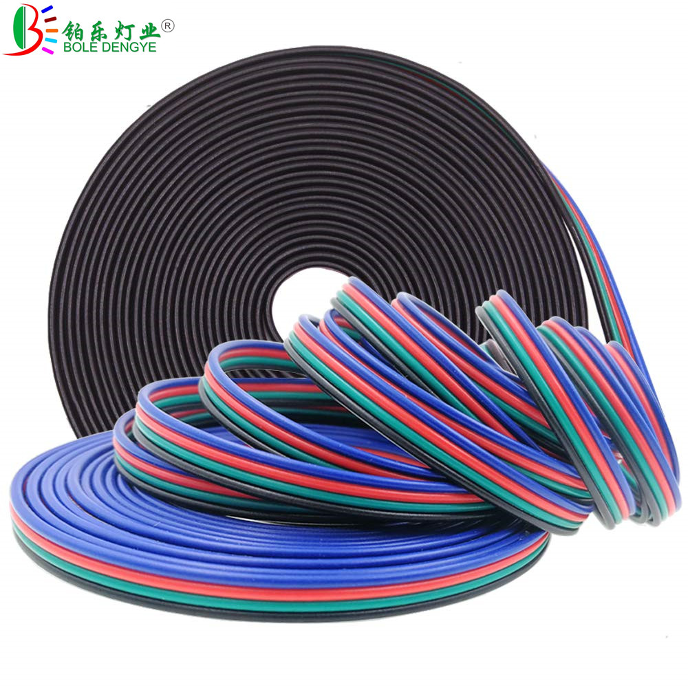 1M 2M 3M 5M 10M 20M 50M 100M 4PIN RGB Extension Cable DC 12V LED Strip Extend Wire Connector For 2835 5050 RGB LED Strip 1