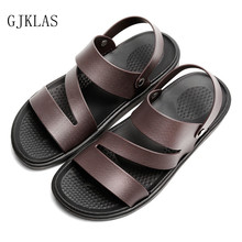 Beach Sandals Slippers for Men Casual Summer Shoes Mens Slides Brown Black Sandals Cheap Fashion Men Slippers Pu Leather Sandal
