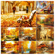 5D DIY Diamond Painting Golden Autumn Landscape Full Drill Mosaic Embroidery Handmade Hobby Cross Stitch Kits Home Decor Picture