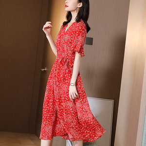 Silk dress new mulberry silk red floral slim A-line  medium length  in spring and summer silk dress S to XL