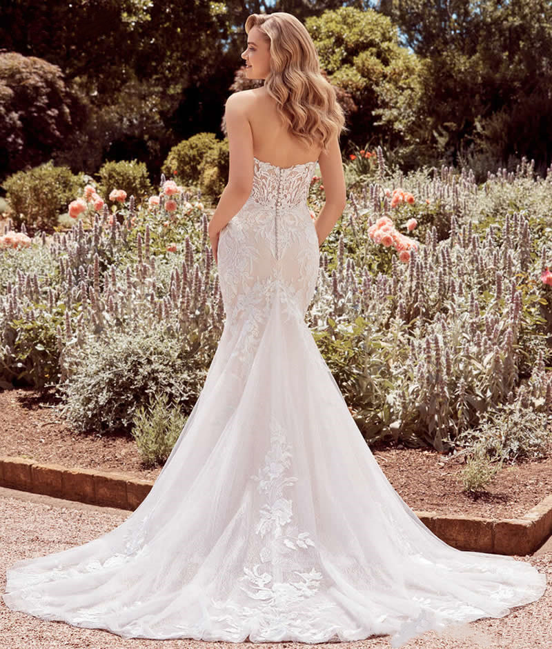 Wedding Dress Mermaid Lace Sweetheart Neckline Strapless Long Marry Plus Sizes Bride Gown 2021 Vestidos De Novia