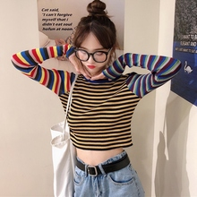 купить Women Striped Knitted Tee Tops Long Sleeve Casual Shirts Fashion Slim Short T-shirt Female Crop Tops дешево
