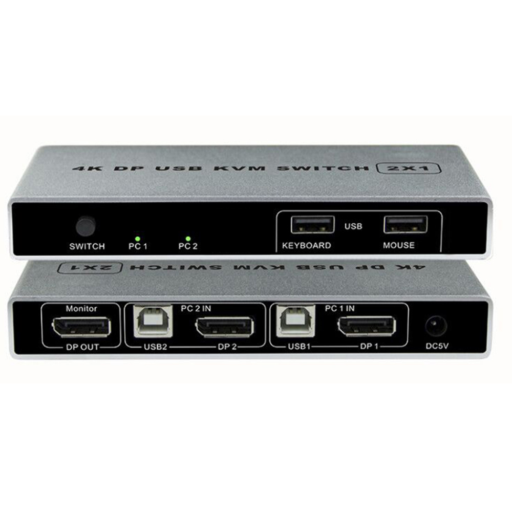 Двойной порт Displayport KVM Switch, USB Displayport KVM 144 Гц DP Switcher 4KX2K/60 Гц 2K/144 Гц Displayport 2 в 1 выход KVM USB