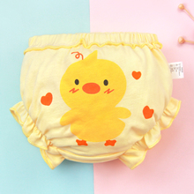 Lucky Big Cat  Children's Underwear solid color Cotton Bowknot bread Pants Girls 0-3Y(Yellow duck)