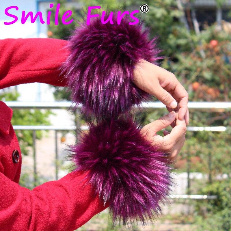 Fake Fur Cuffs 100% High Quality Fluffy Fur Wrist Winter Coat Sleeve Hand Ring Large Faux Fur Sleeve Decor Arm Warmer Oversleeve