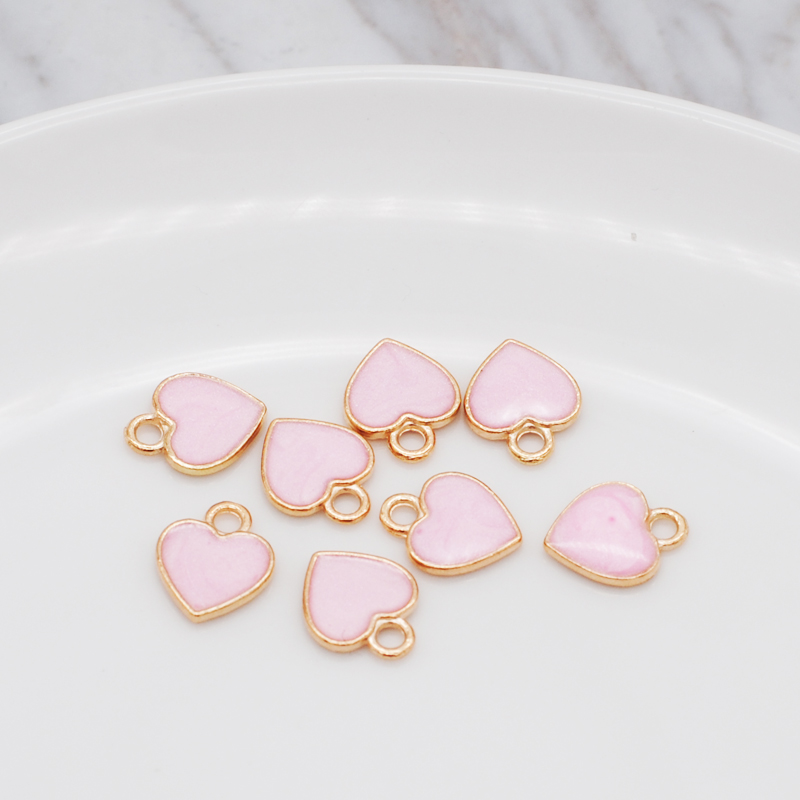 30pcs/Lot New Earrings DIY Accessories Cartoon Lovely Heart Simple Pendant Earrings Material Enamel Charm 10*12mm 3