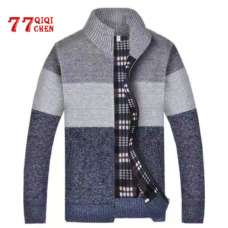 Sweater Men Autumn Winter SweaterCoats Faux Fur Wool Thick Mens Sweater Jackets Casual Zipper Splice Knitwear Cardigan Male 3XL