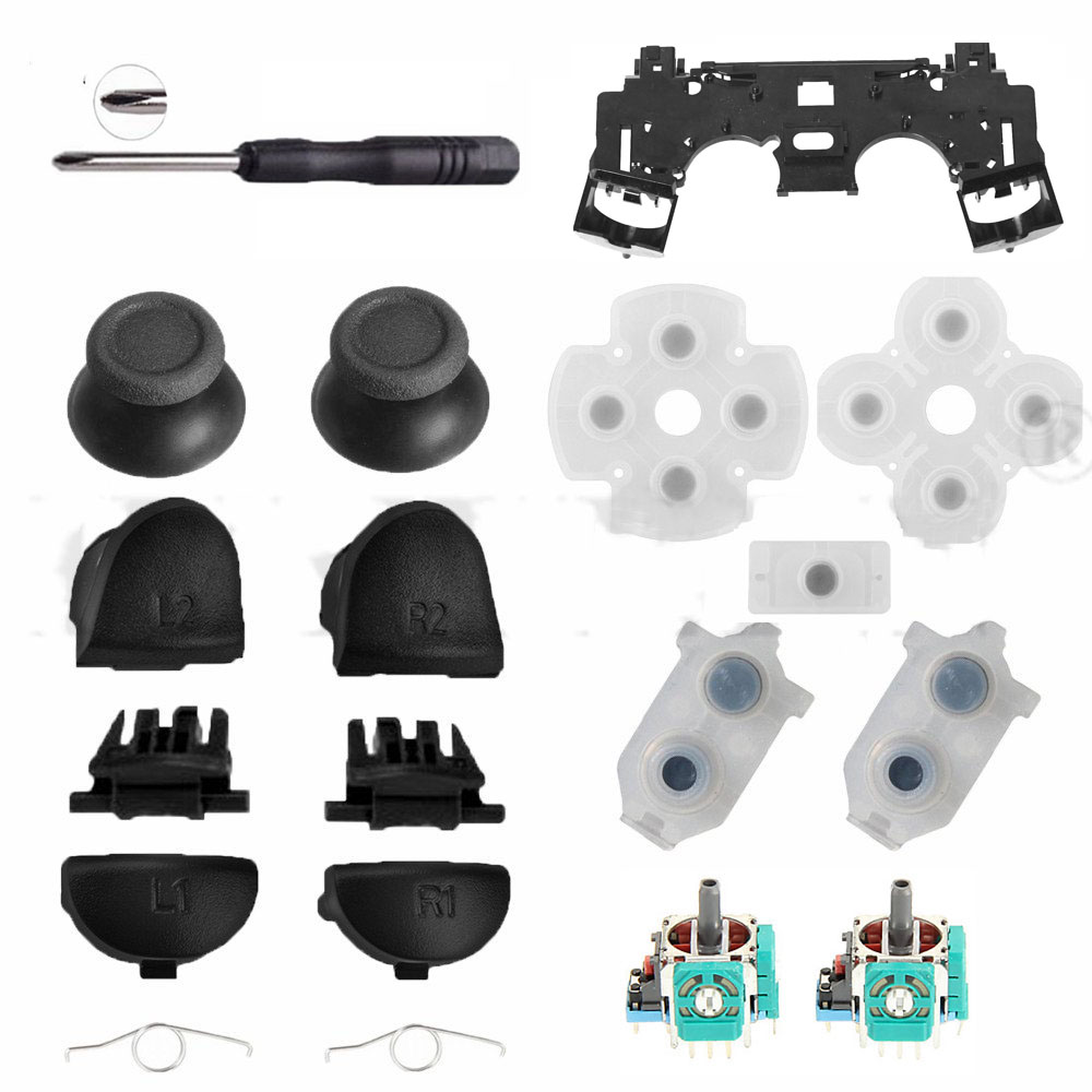 For PS4 JDS 030 JDM 030 Controller Repair Set L1 R1 L2 R2 Trigger Buttons 3D Analog Sticks Cap Conductive Rubber Screwdriver Kit