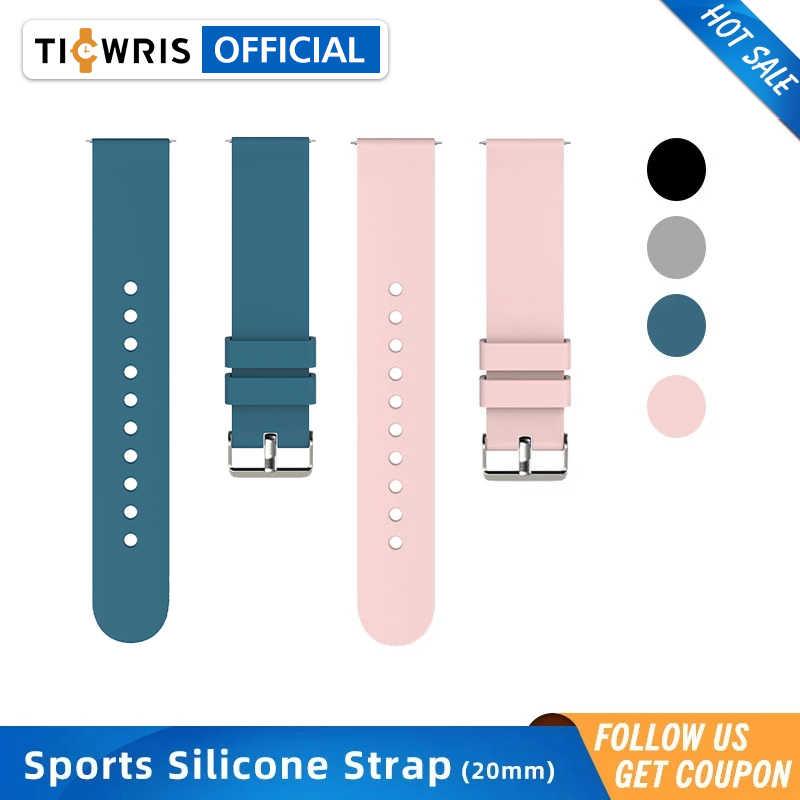 Bracelet en Silicone d'origine 20mm universel montre intelligente Bracelet de remplacement boucle inverse Bracelet de montre pour TICWRIS GTS KW37 Pro