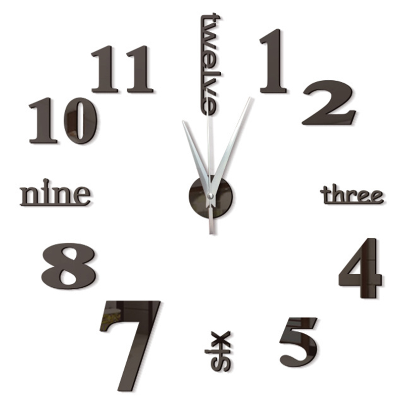 3d Wall Clock Modern Design Kitchen Decorative Mirror Self Adhesive Digital Vintage Large Wall Clock On The Wall Watch Clock New