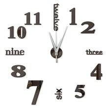Reloj de pared 3d moderno diseño de cocina espejo decorativo Auto adhesivo digital vintage gran reloj de pared en el reloj de pared nuevo