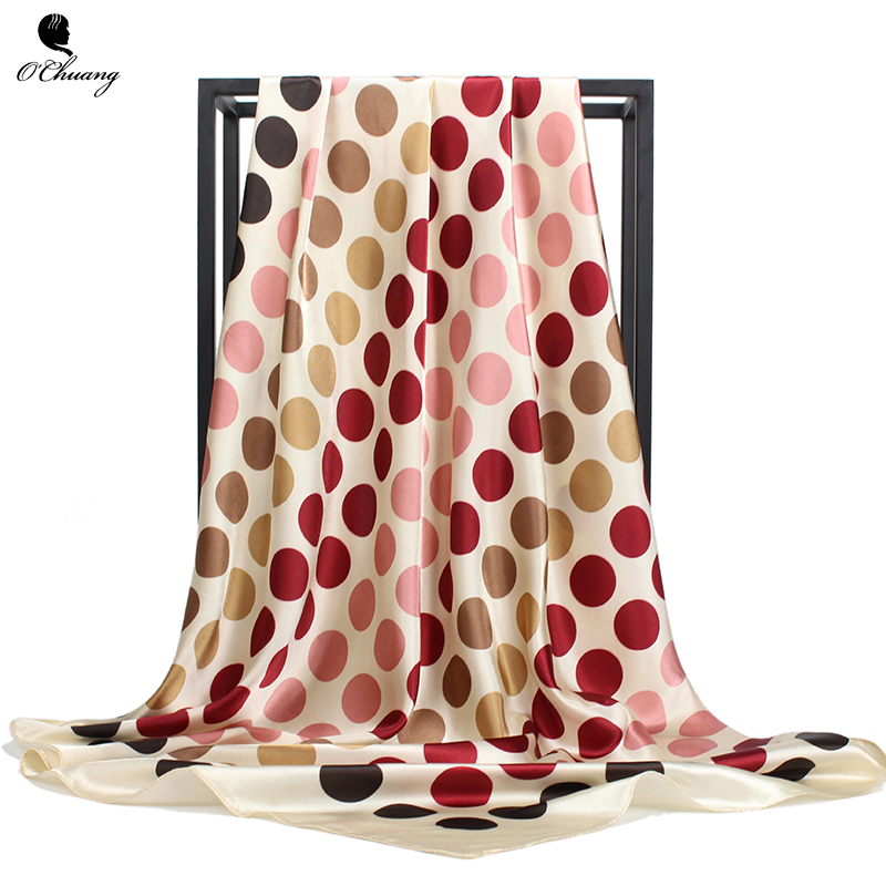 Scarf Portrait Of Horse Polka Dot Womens Square Silk Scarves Shawl Wrap for Lady Girls