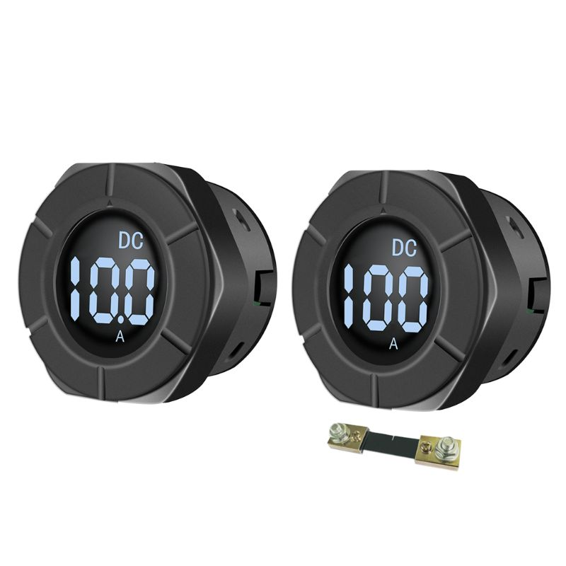 DC 5-12V Round LCD Display Digital Ampermeter Ammeter Car Amp Panel Meter Current Meter PZEM-019A with 100A Shunt