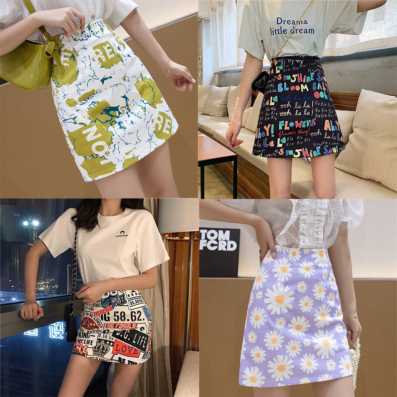 Women Korean Fashion Kawaii Mini Summer Skirt Print Harajuku Kawaii Goth Gothic Clothes Fairycore Falda Aesthetic Pencil Skirt