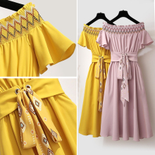 Spring and summer new style Summer dress Sweet temperament Chiffon Ruffle Sleeve Dress