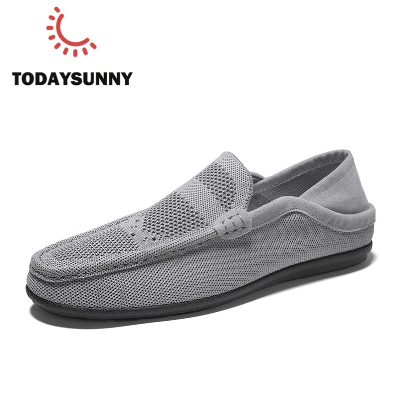 New Arrival Fashion Men Loafers Shoes Breathable Flying Weaving Sneakers Light Men Luxury Brand Loafers Italian Chaussure Homme