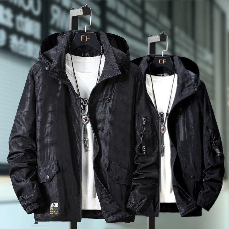 new arrival fashion super large Men Casual Zipper Print Jacket Mens autumn coat with hood plus size 4XL 5XL 6XL 7XL 8XL 9XL 10XL