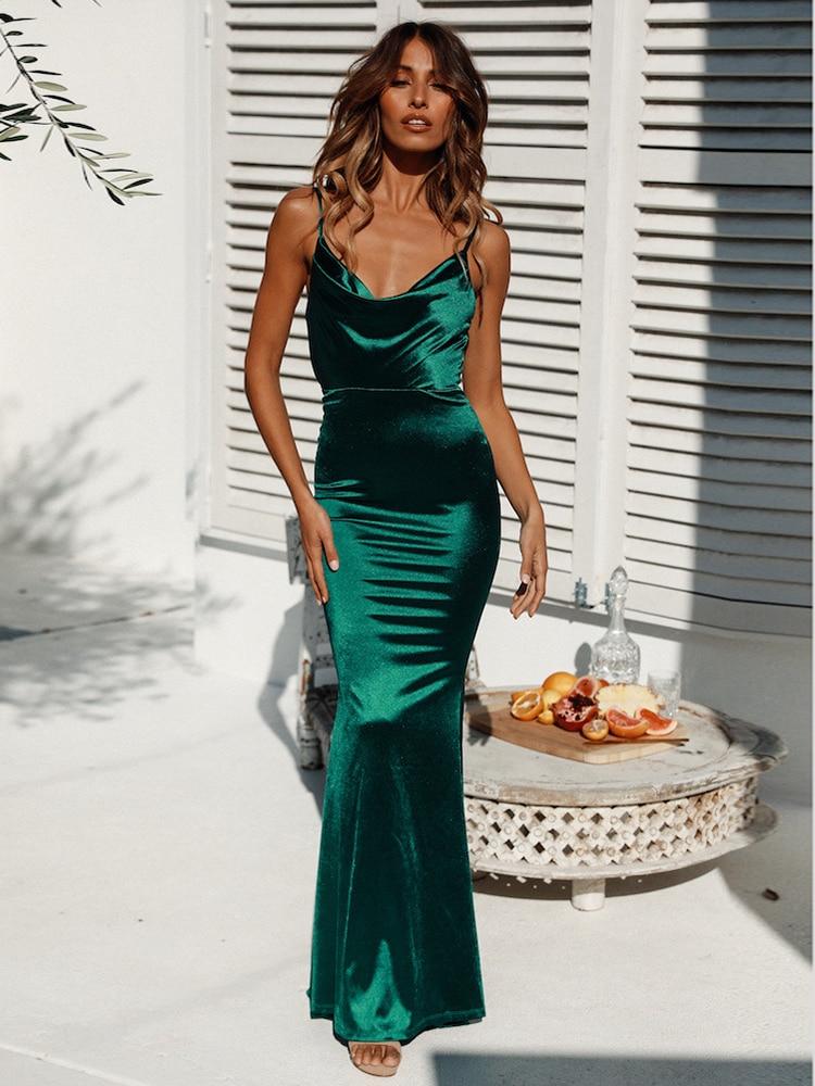 Sexy Sleeveless Evening Dress Dark Green Mermaid Robe De Soriee Spaghetti Strap Velour Formal Dress For Women Party Gown