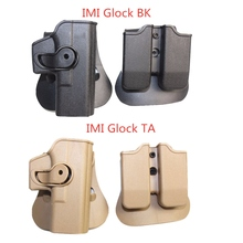 Tactical Combat Gun Holster for Glock 17 19 22 23 31 32 Airsoft Pistol Belt IMI Holster with Double Magazine Pouch for Hunting