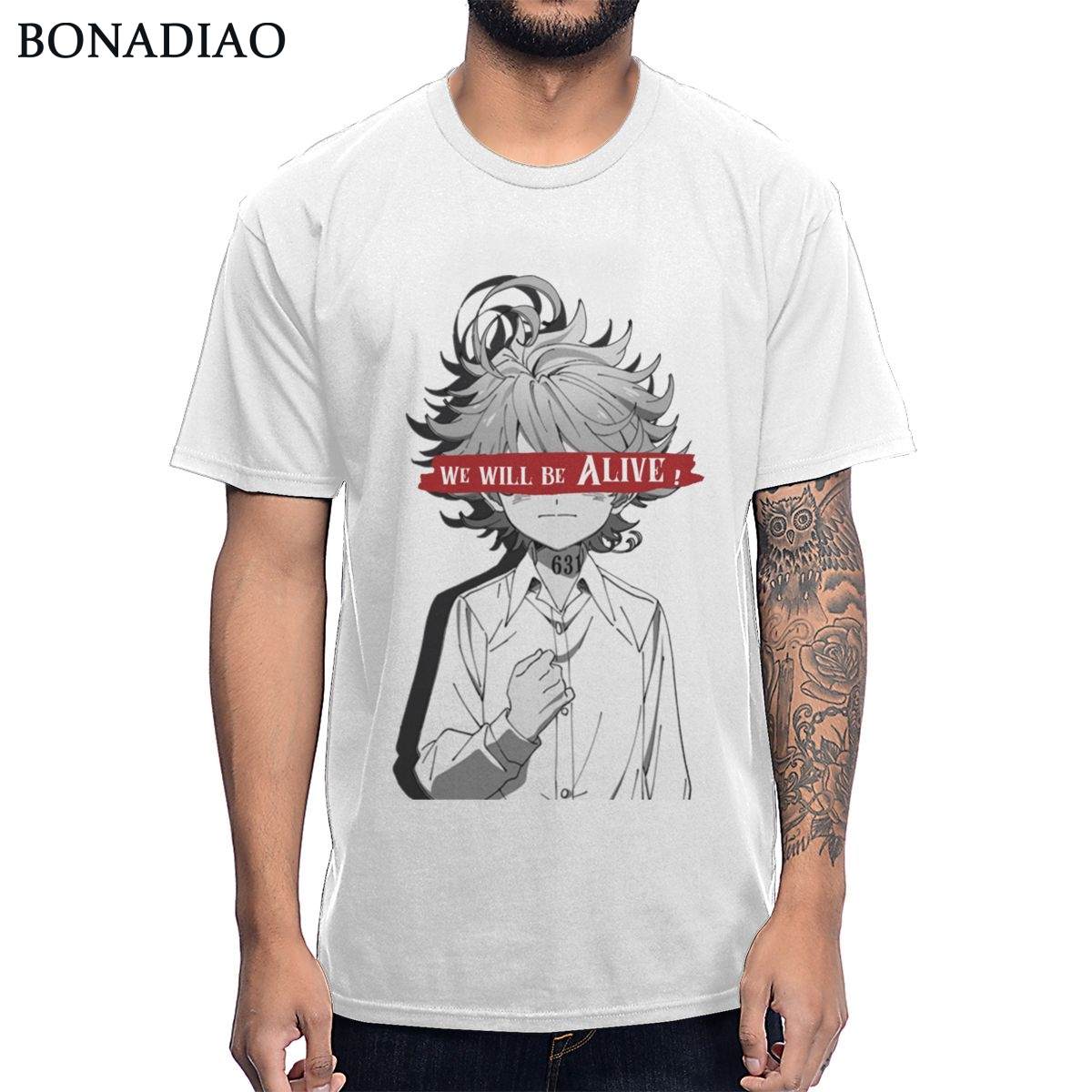 Anime The Promised Neverland T Shirt Emma We Will Be Alive T-shirt Man's High-Q Crewneck 100% Cotton Tee Shirt