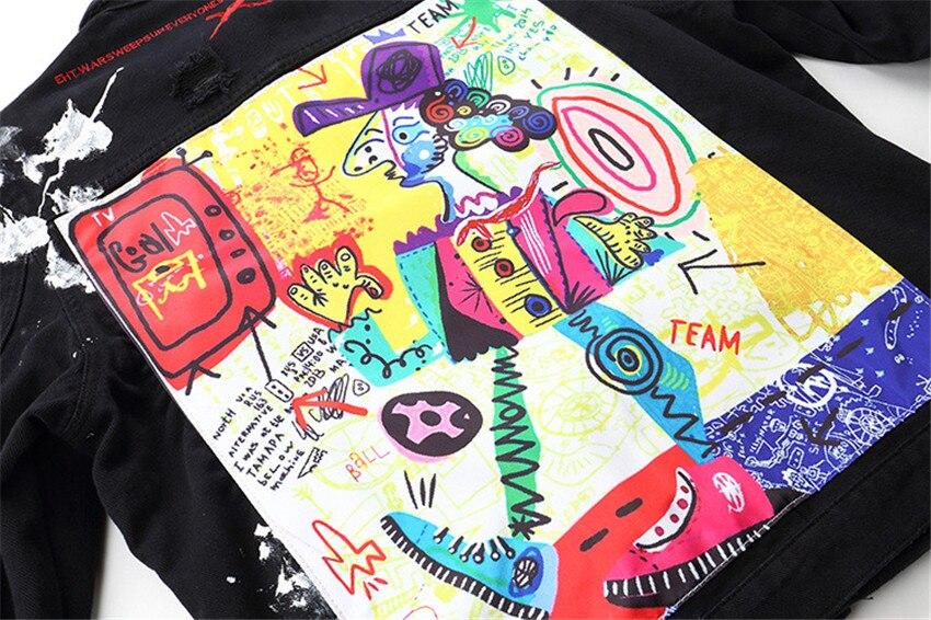 Moda 2019 Novos Homens Hip Hop Graffiti Dos Desenhos Animados Jaquetas Jeans Rasgado Mens Casual Afligido Jeans Jaqueta Casaco Streetwear - 6