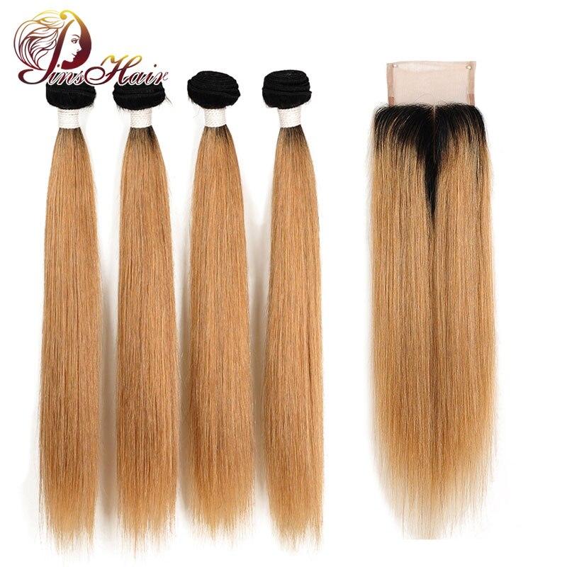 Brazilian Straight Hair 4 Bundles With Closure Honey 1B 27 Bundles Human Hair Ombre Blonde Bundles With Closure Nonremy Pinshair
