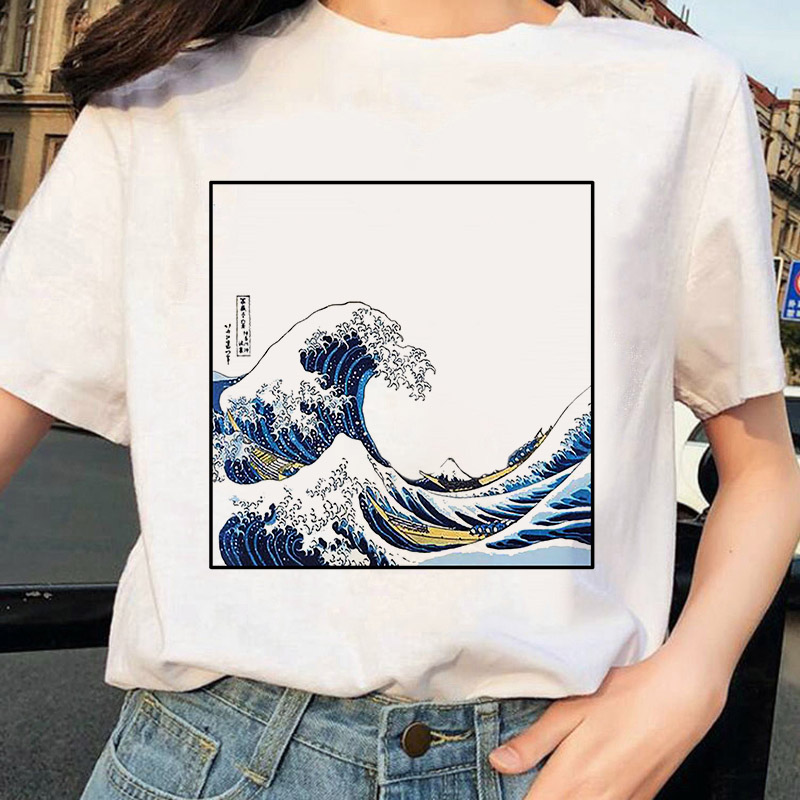 2019 The Great Wave Of Aesthetic T-Shirt Women Tumblr 90s And So It Is Ocean Fashion Graphic Tee Cute Summer Tops Casual T Shirt