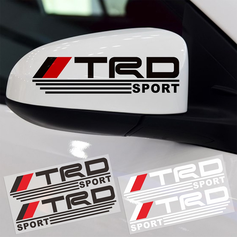 2 PCS Car styling TRD Logo Rearview <font><b>Mirror</b></font> Reflective Car 3D Stickers Funny Character Decoration For <font><b>Toyota</b></font> Decals Stickers image