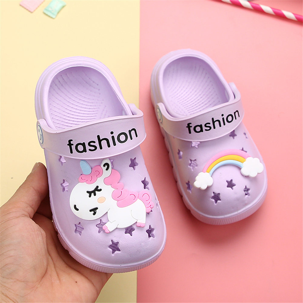Image 2 - Unicorn Slippers for Boy Girl Rainbow Shoes 2019 Summer Toddler Animal Kids Outdoor Baby Slippers PVC Cartoon Kids SlippersSlippers   -