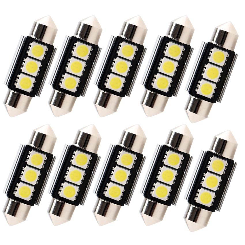 10 шт., автомобисветильник светодиодные лампы C5W 36 мм 39 мм 41 мм 3SMD 5050 12 В