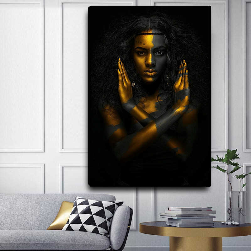 Black and Gold African Nude Woman Oil Painting on Canvas Posters and Prints Scandinavian Wall Art Picture for Living Room decor