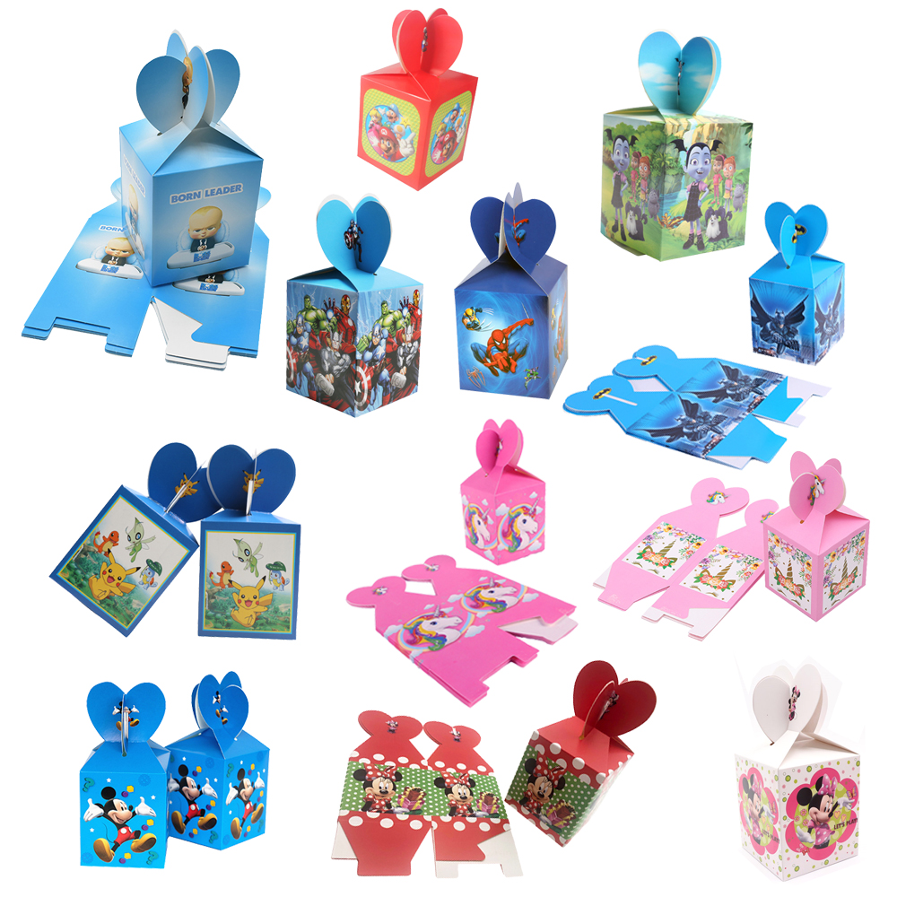 Unicorn Mickey Minnie Pokemon Baby Boss Cartoon Candy Bag Kids Birthday Party Decoration Paper Gift Boxes Baby Shower Supplies