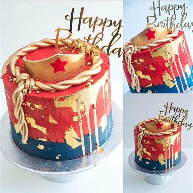 Feliz aniversário bolo topper acrílico carta rosa ouro prata bolo topo da bandeira decoração para crianças festa de aniversário fontes de casamento g