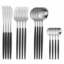 Black Silver Tableware Set Stainless Steel Cutlery Forks Spoons Knives Dinnerware Set Matte Black Dinner Set Kitchen Flatware
