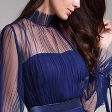 Spring and summer new blue temperament  dress female banquet annual meeting atmosphere long style dress 2