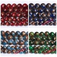 Natürliche See Blau Rot Grün Cloisonné Stein Runde Lose Perlen 15 Zoll 6 8 10mm Pick Größe Perlen für schmuck Machen DIY Armband