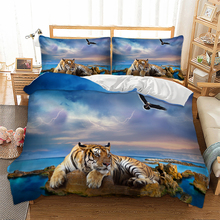 Tiger Bedding Set 3D Print Duvet Cover with Pillowcase Blue Ocean Nature View Bed linen Twin Full Queen King Size Bedclothes 3pc